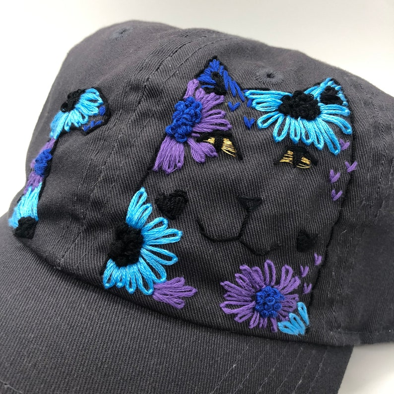Hand Embroidered Hat: Flower Cat image 0