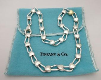 Rare Tiffany & Co Silver Gold Heart Link Padlock Necklace