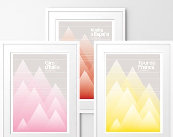 The Grand Tour - Set of 3 Limited edition prints, inspired by cycling. Numbered limited editions of 100.