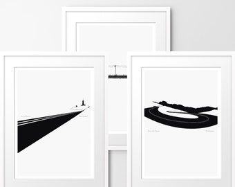 Rides - Set of 3 Limited edition prints, inspired by cycling. Numbered limited editions of 100.
