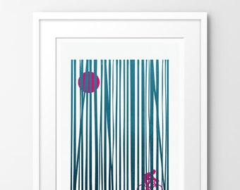 Into the Woods - Day Ride - Limited edition print, inspired by cycling. Numbered limited edition of 100.