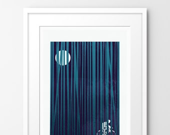 Into the Woods - Night Ride - Limited edition print, inspired by cycling. Numbered limited edition of 100.