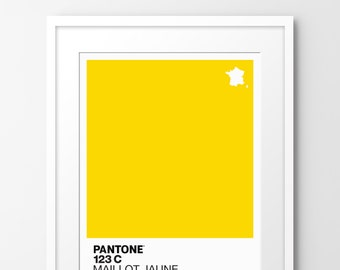 Pantone 123c   Maillot Jaune - Limited edition A4 print, inspired by cycling. Numbered limited edition of 100.