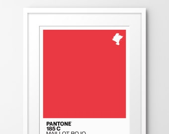 Pantone 185c   Maillot Rojo - Limited edition A4 print, inspired by cycling. Numbered limited edition of 100.