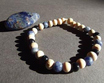 "Bracelet ""Sodalite et goldstone"""