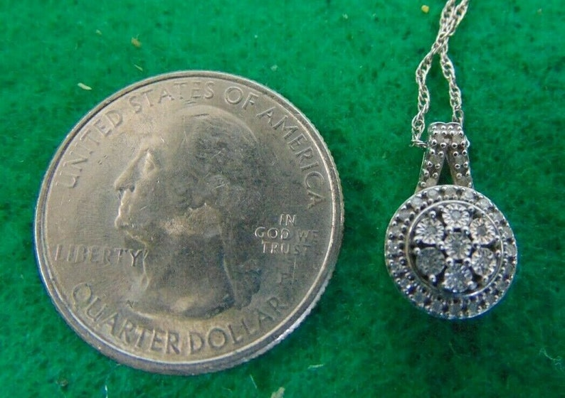Sterling Silver /& Diamond Necklace Stamped 925 SUN w 18 925 Chain A3039