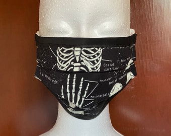 PREORDER - Glow in the dark Human Osteology face mask with filter pocket