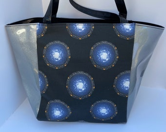 silver and navy large shopper bag nerdy geeky gift sci fi atlantis Stargate SG 1 Chevron tote bag