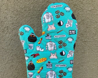 Oven mitt made with a show about nothing fabric, kitchen decor