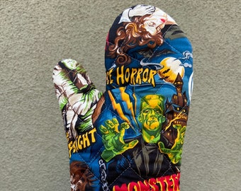 Oven Mitt made with classic movie monster fabric