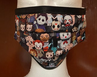 PREORDER - mini horror cuties cotton face mask with filter pocket