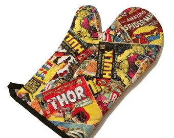 Oven mitt made with Marvel Comic fabric