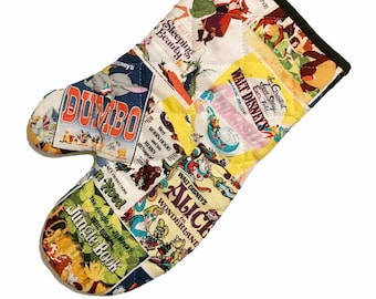 Oven mitt made with classic Disney poster fabric