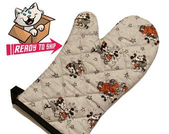 Gray oven mitt made with cartoon mice fabric
