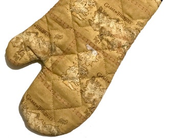 Oven mitt made with Game of Thrones Map fabric