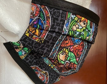 PREORDER - Face mask with filter pocket made with Zelda stained glass fabric