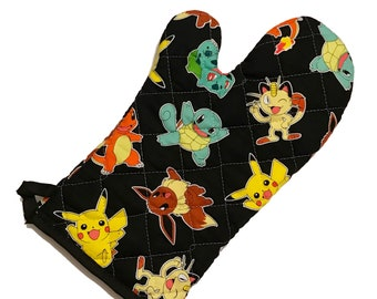 Oven mitt made with Pokemon fabric