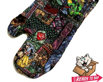 Oven mitt made with Beauty and the Beast Stained Glass fabric