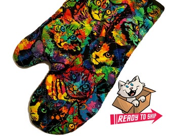 Rainbow Kitties Oven Mitt