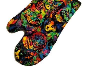 Rainbow Kitties Oven Mitt