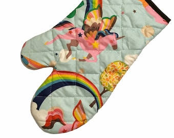 Unicorns and Rainbows Oven Mitt - blue