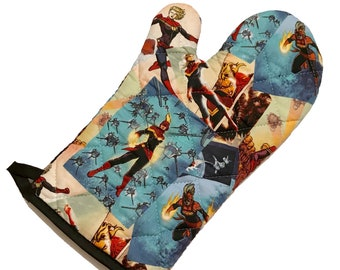 Oven mitt made with Captain Marvel fabric