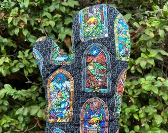 Oven mitt made with Zelda Stained Glass fabric, kitchen decor