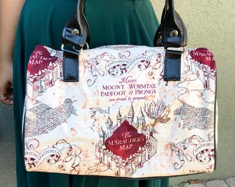 Handbag made with Marauder's Map fabric