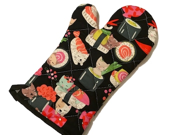 Sushi Cat Cartoon Oven Mitt