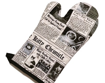 Kitty Newspaper Oven Mitt