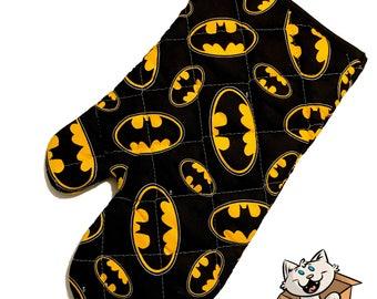 Oven mitt made with Batman fabric