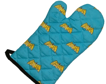 Oven mitt made with Batman fabric