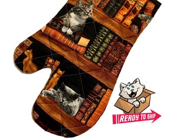 Cats and Books Oven Mitt