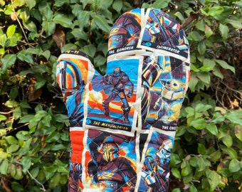 Oven Mitt made with Mandalorian trading cards fabric