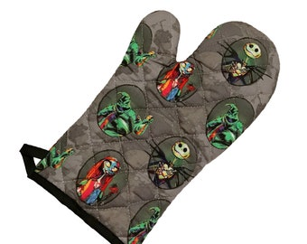 Oven mitt made with Nightmare Before Christmas characters fabric