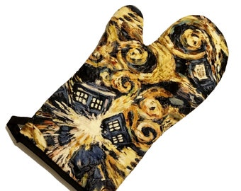 Oven mitt made with Doctor Who Exploding Tardis fabric