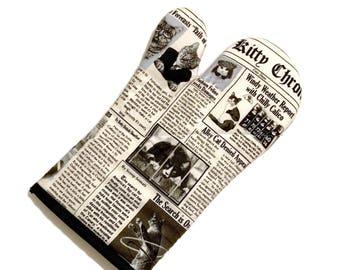 Cat Newspaper Oven Mitt - one mitt