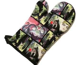 Oven mitt made with cartoon villain fabric