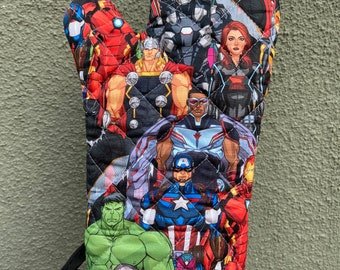 Oven mitt made with packed Avengers characters fabric