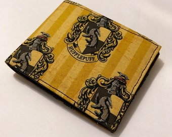 Bifold wallet made with Hufflepuff fabric