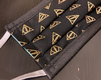PREORDER - Cotton face mask with filter pocket made with Deathly Hallows fabric