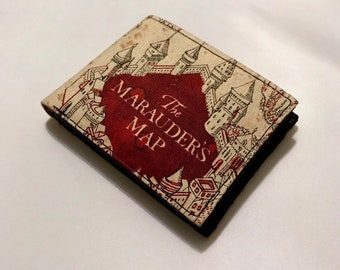 Bifold wallet made with marauder's map fabric