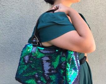 Purple/green double-sided sequin handbag