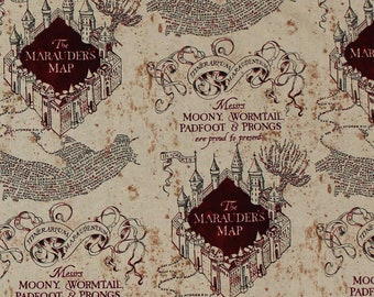 Cotton face mask with filter pocket made with Marauder's Map fabric