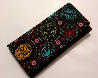 Wallet made with Star Wars sugarskull fabric