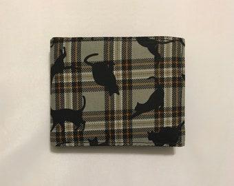 Plaid cat bifold wallet