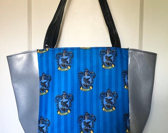 Large tote handbag made with Ravenclaw fabric