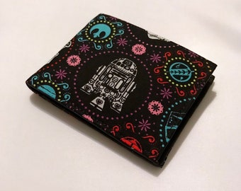 Bifold wallet made with Star Wars sugarskull fabric