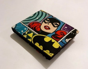 Bifold wallet made with Batgirl fabric