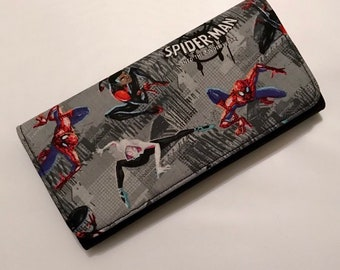 Wallet made with Spider-Verse fabric